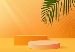 3D-Hintergrundprodukte zeigen Podiumszene mit geometrischer Plattform an. 3D-Rendering des Hintergrundvektors mit Podium. stehen, um kosmetische Produkte zu zeigen. Bühnenvitrine auf Sockelanzeige orange Studio vektor