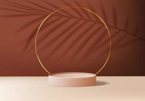 3D-Hintergrundprodukte zeigen Podiumszene mit geometrischer Plattform an. 3D-Rendering des Hintergrundvektors mit Podium. stehen, um kosmetische Produkte zu zeigen. Bühnenvitrine auf Sockel Display braun Studio vektor