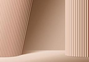 3D-Hintergrundprodukte zeigen Podiumszene mit geometrischer Plattform an. 3D-Rendering des Hintergrundvektors mit Podium. stehen, um kosmetische Produkte zu zeigen. Bühnenvitrine auf Sockeldisplay beige Studio vektor