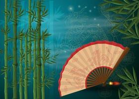 Ein chinesischer Fächer mit Drachen liegt zwischen Bambusdickichten vektor