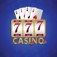 casino VIP lyxigt inbjudningskort med kasinomarker, spelkort och slot vektor