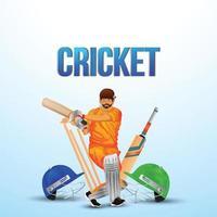 Cricket-Tounament-Match mit Cricket und Helm auf weißem Hintergrund vektor