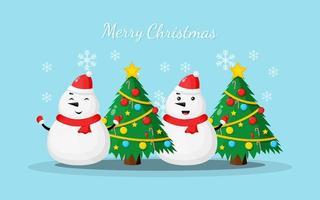 Illustration des Schneemanns, der frohe Weihnachten sagt vektor