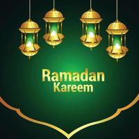 ramadan kareem eller eid mubarak på grön bakgrund med arabiskt mönster och lykta vektor