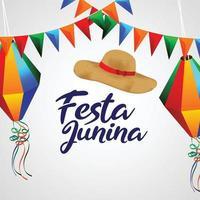 brazil festival festa junina bakgrund med färgglad festflagga och papaer-lykta vektor