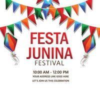 festa junina inbjudan illustration på vit bakgrund vektor