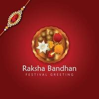 raksha bandhan festival med hinduisk traditionell bakgrund med puja thali vektor