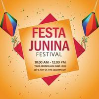 festa junina firande bakgrund med kreativa färgglada lykta vektor