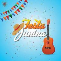 festa junina illustration med kreativ gitarr med färgglad festflagga vektor