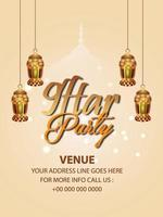 iftar fest med gyllene hängande lykta vektor