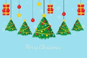 Frohe Weihnachtskarte mit Weihnachtsbaum und Geschenkbox vektor
