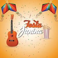 festa junina inbjudningskort med kreativa färgglada papperslykta och gitarr vektor