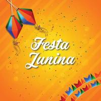 Festa Junina Vektor-Illustration mit Gitarre, bunte Partyflagge und Papierlaterne vektor