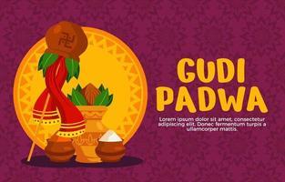 die heilige tradition des gudi padwa hintergrunds vektor