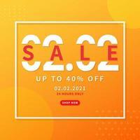 2.2 försäljning rabatt banner marknadsföring. trendig designmall för annonsering, sociala medier, affärer, modeannonser etc. vektorillustration.