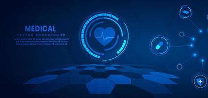 Medizintechnik und Wissenschaftskonzept und Gesundheitssymbolmusterhintergrund. vektor