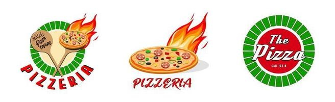 Pizzeria, Fast-Food-Logo oder Etikett. Menügestaltung für Café und Restaurant. freie Vektorillustration. vektor