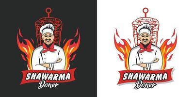 shawarma-logotyp för restauranger och marknader. doner kebab logotyp mall. eps10 vektorillustration. vektor