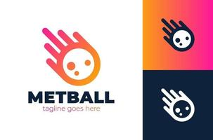 Aufprall-Meteor-Logo mit Schwanzvektor-Symbolillustration. Meteor Logo Vektor Vorlage Design