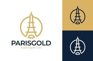 Eiffelturm-Symbol-Vektorlogo. Monolines Eiffel Paris Turm Logo Vektor Symbol Symbol Design Illustration