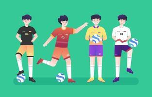 fotbollsspelare teckenuppsättning vektor