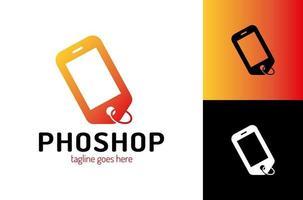 Smartphone Preisschild Logo Vorlage. Online-Shop Logo Designs Vorlage, Telefon Shop Logo Symbol Symbol mit Preisschild kombinieren. vektor