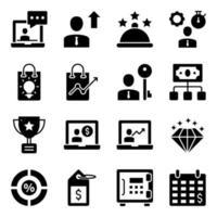 paket med affärs- och e-handelsglyph-ikoner