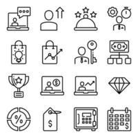 paket med affärs- och e-handel linjära ikoner
