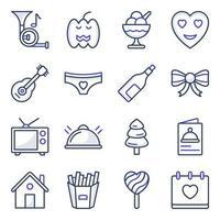 paket med fest och händelse platta ikoner
