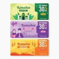 bunter Gutscheinentwurf für Ramadanverkauf vektor
