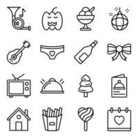 paket med fest och händelse linjära ikoner