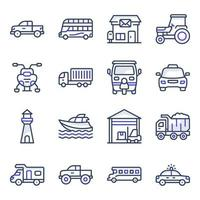 paket med transport platta ikoner