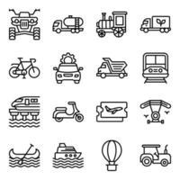 paket med linjära ikoner för resor och transporter vektor