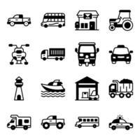 paket med fasta ikoner för transport vektor