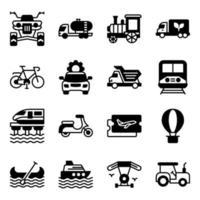 paket med resor och transport fasta ikoner vektor