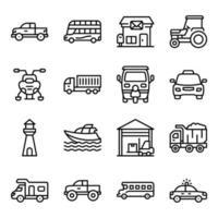 paket med transport linjära ikoner vektor