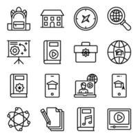 paket med linjära ikoner för utbildning vektor