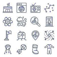 paket med rymd och astronomi platta ikoner vektor