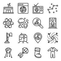 paket med astrofysik linjära ikoner vektor