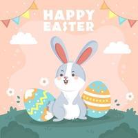 entzückender molliger Hase, der nahe gemalten Eiern steht vektor