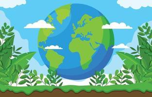 flacher Tag der Erde Hintergrund vektor