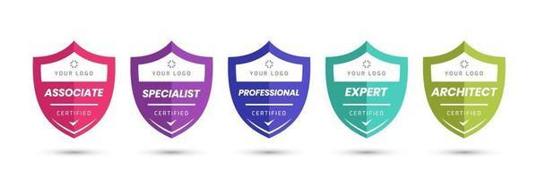 zertifiziertes Logo-Abzeichen mit Schildformvektor. digitale Zertifikate von Kriterienebenen. Vektor Sicherheit Icon Vorlage.