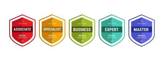 certifierad logotypskyltdesign för företagsutbildning av märkescertifikat för att bestämma utifrån kriterier. uppsättning bunt certifiera med färgglada säkerhetsvektorillustration. vektor