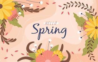 Hallo Frühlingsdekoration mit Blumenschmuck vektor