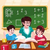 Die Lehrerin unterrichtet ihre Schüler im Zahlenunterricht vektor