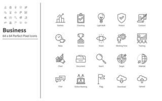 uppsättning affärer tunn linje ikoner vektor