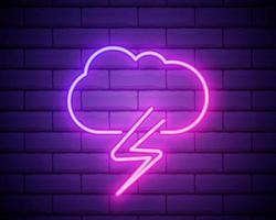 lila rosa neonskylt på tegelvägg stormmoln med regn och blixt. åskväder illustration vektor
