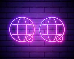 Planet Erde Leuchtreklame. helles leuchtendes Symbol lokalisiert auf Backsteinmauerhintergrund. Neon-Stilikone. Planet mit Häkchen und Kreuzsymbolen. Abstimmung. Wahl vektor