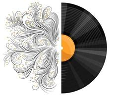 Vektorbild einer Musikaufzeichnung mit einem Muster oder einer Gravur in einem realistischen Stil mit Cartoon-Elementen. eps 10. isoliert auf weißem hintergrund vektor