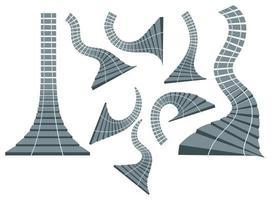Vektorbild. Satz von Eisenbahnschienen. in einem Cartoon-Stil. kann eine allegorische Bedeutung haben. eps 10 vektor